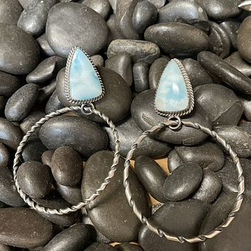 Larimar Turquoise Post Genuine Earring w/ Moveable Twisted Hoop