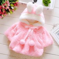 Baby clothes girls coat rabbit thickening jacket Girls Autumn Winter Hooded Coat Cloak Jacket Thick Warm Clothes drop shipping