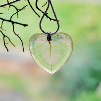 Lemon Leaf Necklace 01 Yellow Heart Resin Jewelry Real Leaf Veins Transparent Pendant Love Romantic 925 Silver Plated