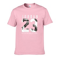 Jordan Fashion New Letter Print People Print Women Men Top T-Shirt Pink