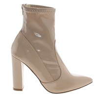 Eloise1 Nude By Liliana, Ankle Booties On Block High Heel Dress Boots
