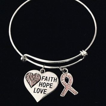 Pink Ribbon Faith Hope Love  Adjustable Charm Bracelet Expandable Silver Bangle One Size Fits All Gift