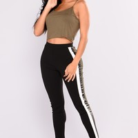Yevanna Stripe Leggings - Black
