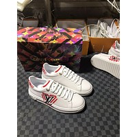 LV Louis Vuitton BEST QUALITY Women's Leather Low Top Sneakers Shoes