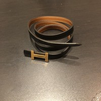 Hermes Belt- Gold Ladies Thin H Blk/ tan Reversible, Size S, NVR WORN IN BOX&BAG