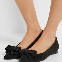 Michael Kors Collection - Marla bow-embellished suede point-toe flats