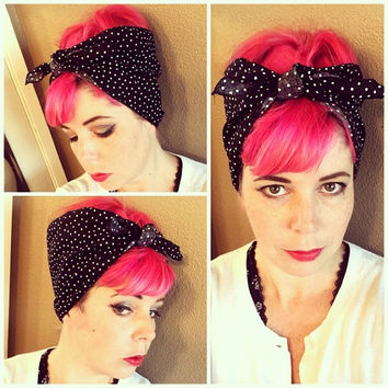 Black with tiny white polka dots Double WIDE Headwrap Bandana Hair Bow Tie 1950s Vintage Style - Rockabilly - Pin Up - For Women, Teens