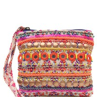 Street Level Ratna Embellished & Beaded Wristlet Coin Pouch - Womens Handbags - Purple - One