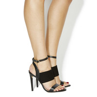 Office Anchor 3 Strap Heels Black Leather - High Heels