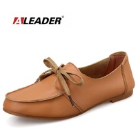 Aleader New 2017 Fashion Women Flats Genuine Leather Oxfords Women Casual Shoes Classic Ballet Flats For Women Moccasins sapatos