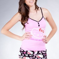 PINK HELLO KITTY BUTTON UP TANK PRINTED SHORTS TWO PIECE SET