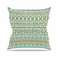 """Pom Graphic Design """"Mint & Gold Tribals"""" Teal Brown Throw Pillow"""