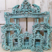 Large ornate frame grouping baroque style French chic blue aqua distressed shabby wall decor Anita Spero