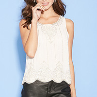 FOREVER 21 Beaded Chiffon Scalloped Top Seashell Pink