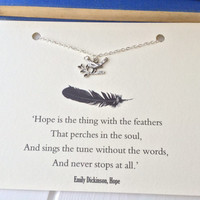 Silver Bird Necklace inspired by Emily Dickinson's 'Hope' Poem, Literature Gift