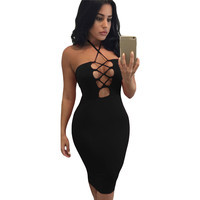 Sexy Club Dress Women Bodycon Dress Halter Lace-Up Hollow Out Bandage Dress Solid Party Dresses BlackRedBrown SM6