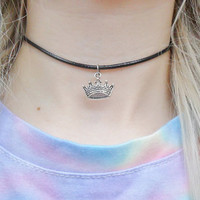 Crown Queen Princess Royal King Monarchy Pendant Choker Silver Necklace Jewellery Jewelry