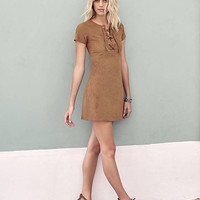 Brown Faux Suede Lace-up Dress from EXPRESS