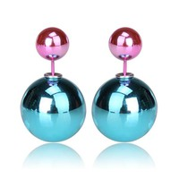 Gum Tee Mise en Style Tribal Earrings - Metallic Sea Blue and Pink