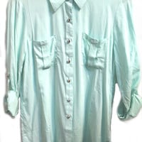 Mint Buttoned Long Sleeve Top
