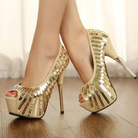 fashion gold sequins wedding shoes 8945SV