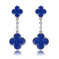 Beady Cleef Double Clover - Silver & Blue