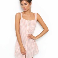 Buy Our Danity Shift Dress in Peach Check Online Today! - Tiger Mist