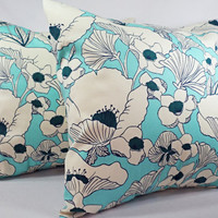 Two Navy and Teal Throw Pillow Covers - 16 x 16 inches Decorative Throw Pillow - Floral Pillow - Teal Navy Blue Pillow Covers - Pillows