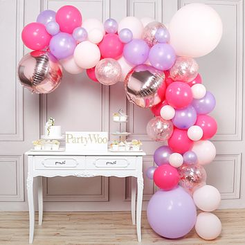 PartyWoo Pink Balloons, Pink Purple Balloons Pack of Pastel Pink Balloons, Light Purple Balloons, Magenta Balloons, Confetti Balloons, Foil Balloons for Princess Baby Shower, Pink Birthday Decorations