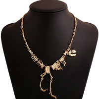 Goth Alloy Dinosaur Skeleton Dead Tyrannosaurus T-Rex Charm Necklace Choker Necklace For Women Jewelry Collar Free Shipping
