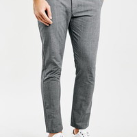 Grey Checked Cropped Stretch Skinny Chino - Men's Pants - Clothing