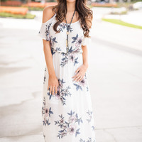 Day By The Bay Cold Shoulder Cinched Waist Floral Maxi Dress (Ivory)