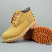 Timberland Leather Lace-Up Boot Low Yellow Dark Brown  - Best Deal Online