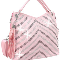 * Rhinestone Chevron Accent Tasseled Handbag In Pink