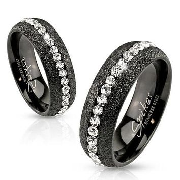 Glittery Black IP Over Stainless Steel Eternity Ring with Clear CZ Center
