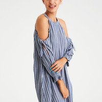 AE STRIPED HIGH NECK TIE SLEEVE SHIFT DRESS, Blue