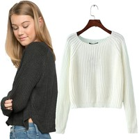 Casual Knitted Solid Crop Sweaters