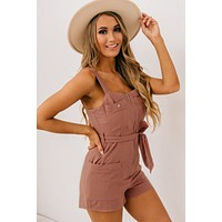 Missed The Point Zip Front Romper (Clay)