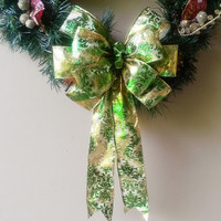 Filigree Christmas Wreath Bow-Gold and Green Decorative Christmas Bow- Wreath Bow- Tree Topper Bow-Mailbox Bow-Stair Door