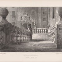 Antique Print Glasgow University. Staircase in the Outer Court Scotland (A41) by Grandpa's Market