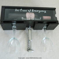 FUNNY GIFT - Break Glass In Case Of Emergency Novelty Wall Wine or Wiskey Bottle Holder
