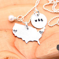 long distance love, hand stamped United States necklace, personalized jewelry, USA necklace