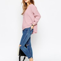 ASOS PETITE Utlimate Chunky Jumper with V Neck at asos.com