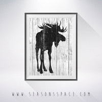 Moose 2 art illustration, Moose painting,Nautical,Wall art,Rustic Wood art,Animal print,Home Decor,Animal silhouette,Kitchen decor,art print