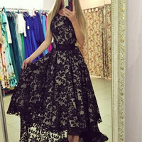 Vestidos Longs Black And White Sexy Women Sleeveless Prom Ball Party Long Maxi Long Lace Dress Q0081