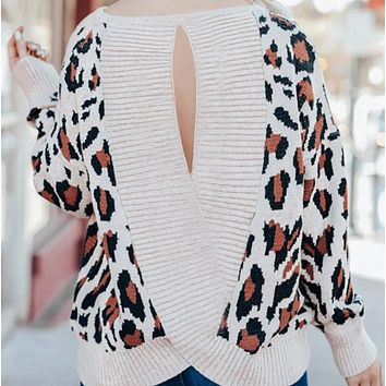 New hot sale round neck printed knitted sexy leopard jacquard open back sweater