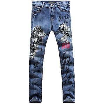 New fashion straight leg jeans long men male printed denim pants cool cotton designer good quality trousers