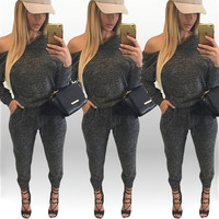 Dark Grey Long Sleeve Drawstring Rompers