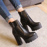 Metal Buckle Side Zipper Chunky Heel Platform Ankle Boots 1940