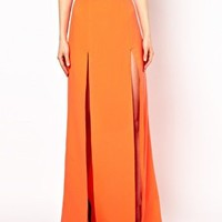 Maxi Skirt with Double Thigh Split